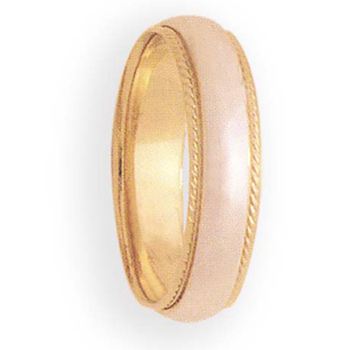6mm 6T01A  Mens Two-Tone Wedding Band