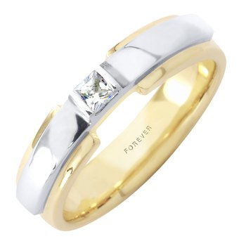 MENS TWO TONE WEDDING BAND WITH DIAMOND