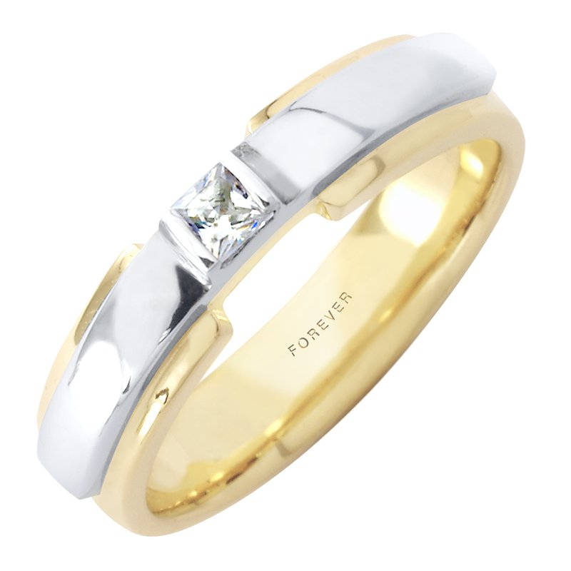 Cadmans MENS TWO TONE WEDDING BAND WITH DIAMOND