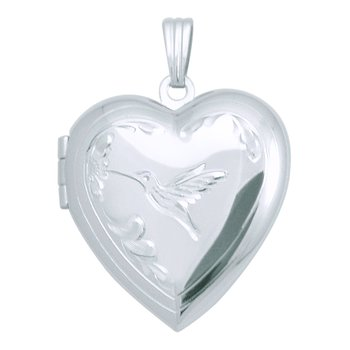 HAND-ENGRAVED HUMMINGBIRD HEART LOCKET