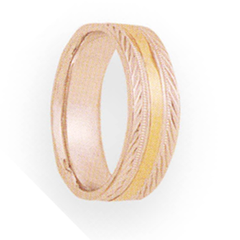 6mm 4T98 Ladies Two-Tone Wedding Band