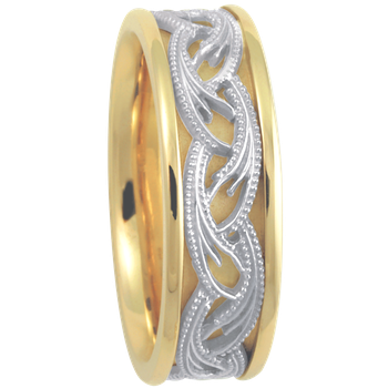 7.5mm 5646 Mens Two Tone Wedding Band