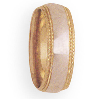 8mm 3T98 Mens Two-Tone Wedding Band