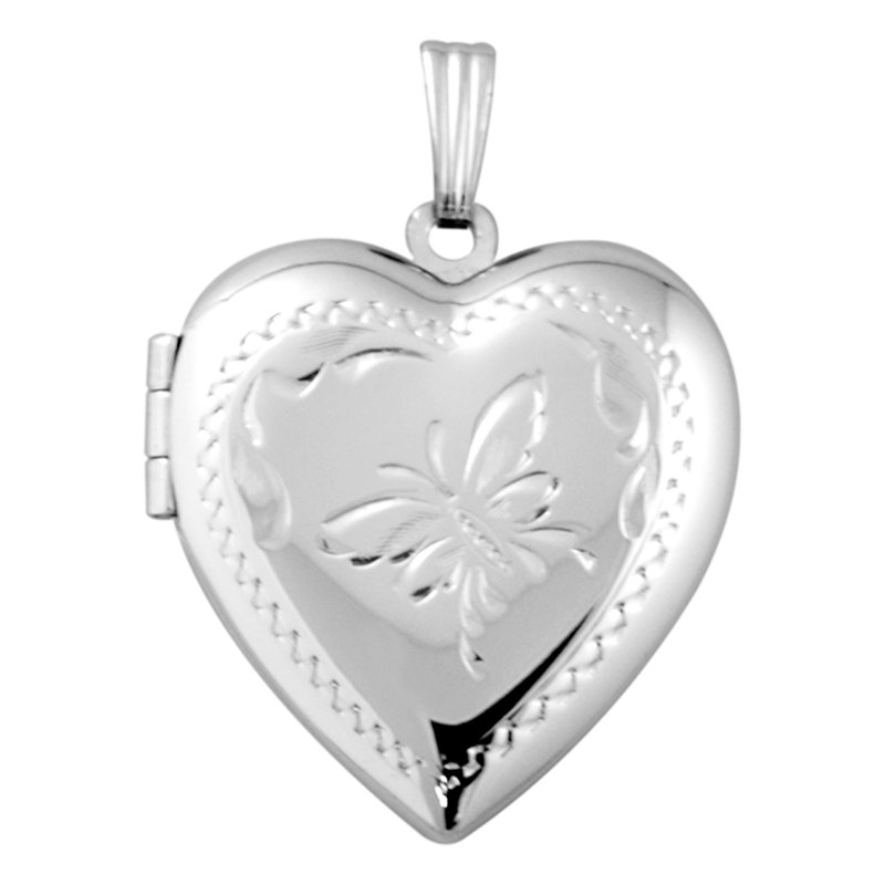 HAND-ENGRAVED HEART SHAPED BUTTERFLY LOCKET