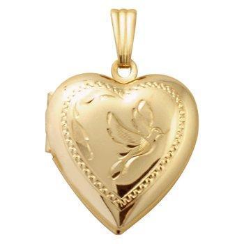 HAND-ENGRAVED HEART SHAPED DOVE LOCKET