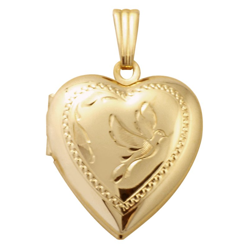Cadmans HAND-ENGRAVED HEART SHAPED DOVE LOCKET