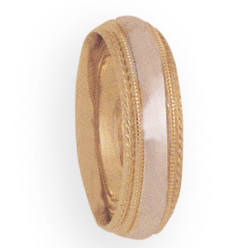 6mm 3T99 Ladies Two-Tone Wedding Band