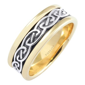 Cadman Mens Celtic Spiral Pattern Wedding Band