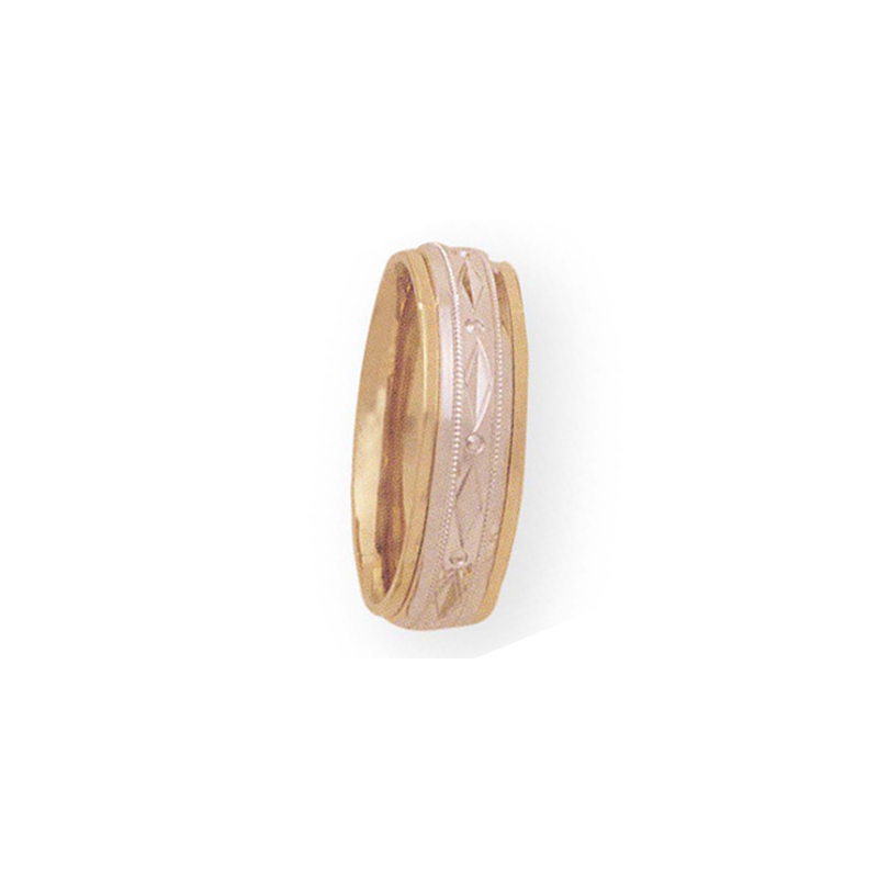 Cadman Catalog 7mm 4T14 Mens Two-Tone Wedding Band