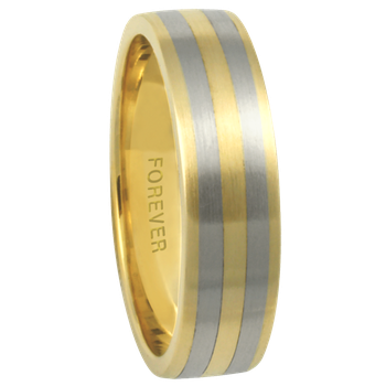 6mm 6T76 Mens Two-Tone Comfort Curve Wedding Band