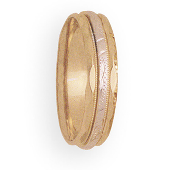 6mm 4T68 Mens Two Tone Wedding Band
