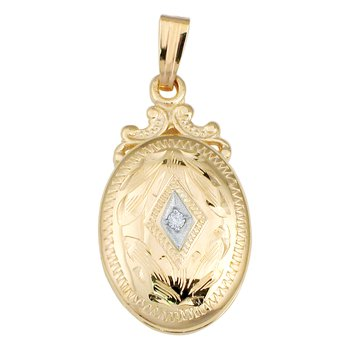 HAND-ENGRAVED LOCKET WITH DIAMOND