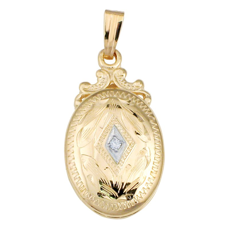 Cadmans HAND-ENGRAVED LOCKET WITH DIAMOND