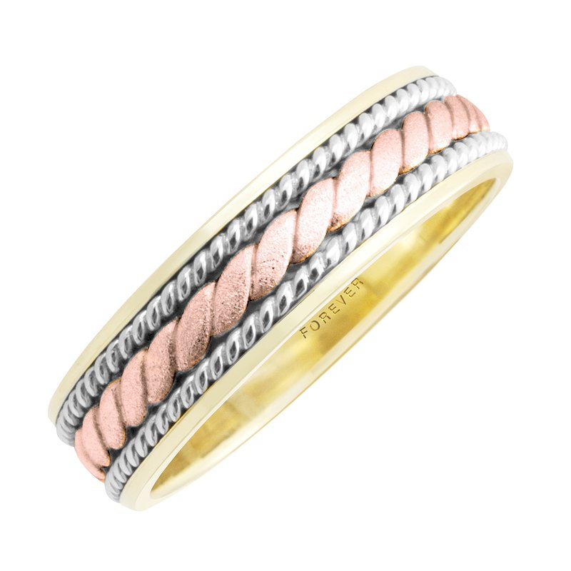 Cadmans TRI-COLOUR LADIES ROPE CENTRE WEDDING BAND