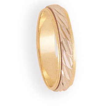 5mm 6T92 Mens Two-Tone Wedding Band
