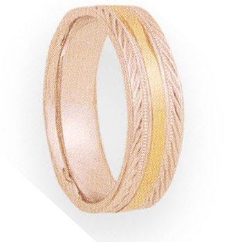 6mm 4T98 Mens Two-Tone Wedding Band