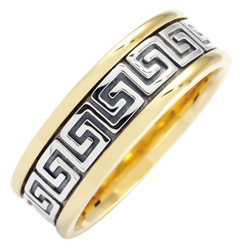 Cadman Mens Celtic Roman Key Wedding Band
