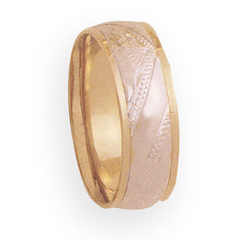 8mm 4T58 Mens Two Tone Wedding Band