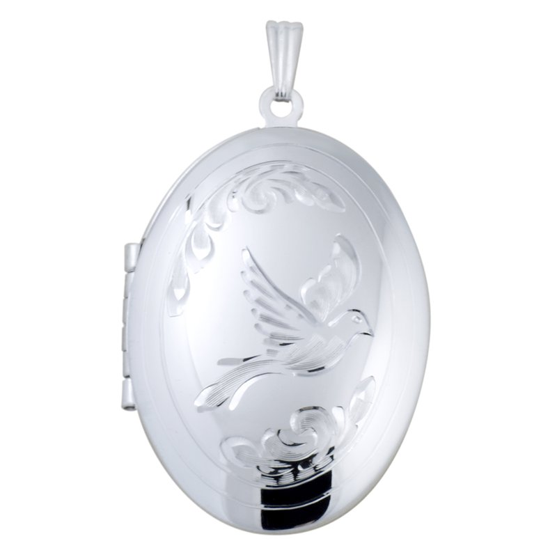 HAND-ENGRAVED OVAL DOVE LOCKET