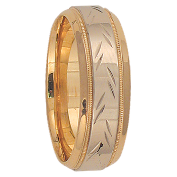 7mm 6T08 Mens Two-Tone  Wedding Band