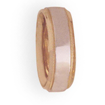 7mm 4T44 Ladies Two-Tone Wedding Band