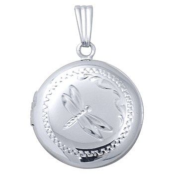 HAND-ENGRAVED ROUND DRAGON FLY LOCKET