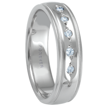 6mm 1T072 Mens Diamond Set Comfort Curve Wedding Band