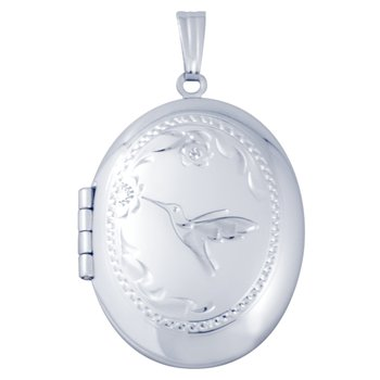 HAND-ENGRAVED HUMMINGBIRD OVAL LOCKET