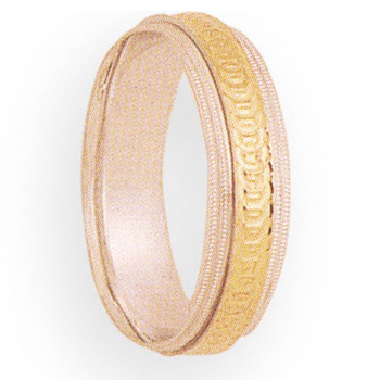 6mm 5T04 Mens Two-Tone Wedding Band