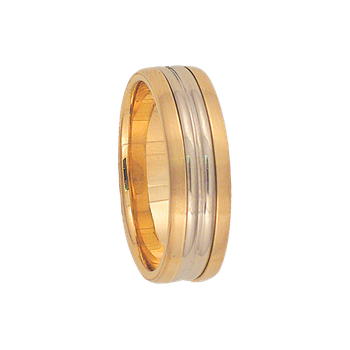 7mm 6T46 Mens Two-Tone Wedding Band