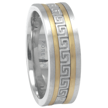 6mm 1T088 Mens Two-Tone Wedding Band