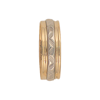7mm 6T14 Mens Two-Tone Wedding Band