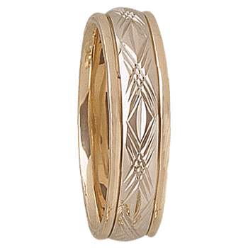 6mm D4T94 Mens Two-Tone Wedding Band