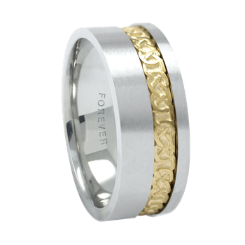 6mm 1T090 Ladies Two-Tone Wedding Band