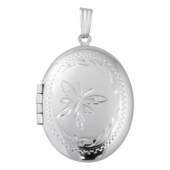 HAND-ENGRAVED OVAL BUTTERFLY LOCKET