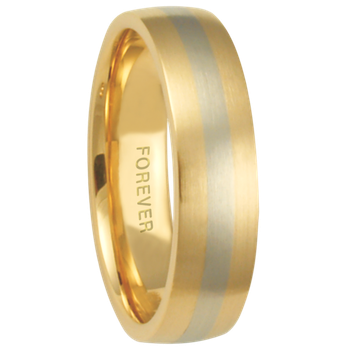 6mm 6T74 Mens Two-Tone Comfort Curve Wedding Band