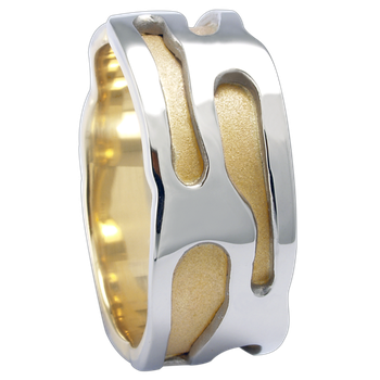 9mm 5774 Mens Two Tone Wedding Band