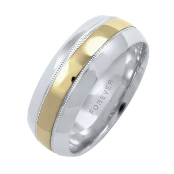 6mm 1T082 Ladies Two-Tone Wedding Band