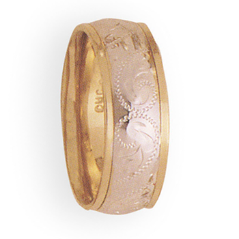 8mm 4T56 Mens Two Tone Wedding Band