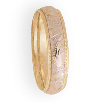 6mm 3T60 Mens Two Tone Wedding Band