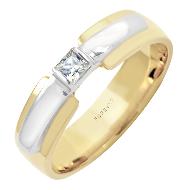 Cadmans LADIES TWO TONE WEDDING BAND WITH DIAMOND