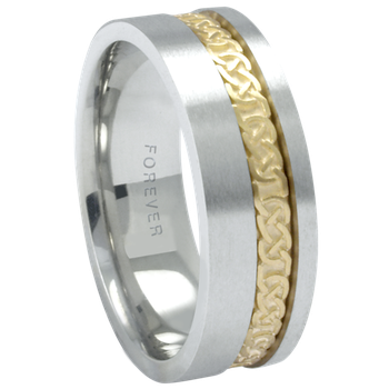6mm 1T090 Mens Two-Tone Wedding Band