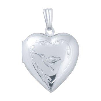 HAND-ENGRAVED HUMMINGBIRD HEART LOCKET
