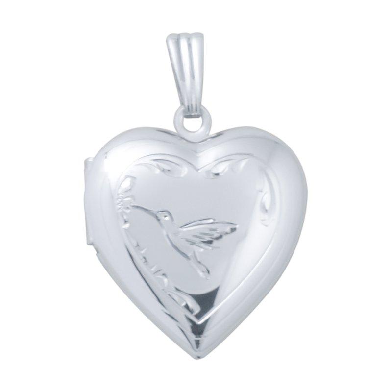 Cadmans HAND-ENGRAVED HUMMINGBIRD HEART LOCKET