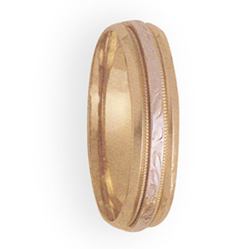 6mm 4T60 Mens Two Tone Wedding Band