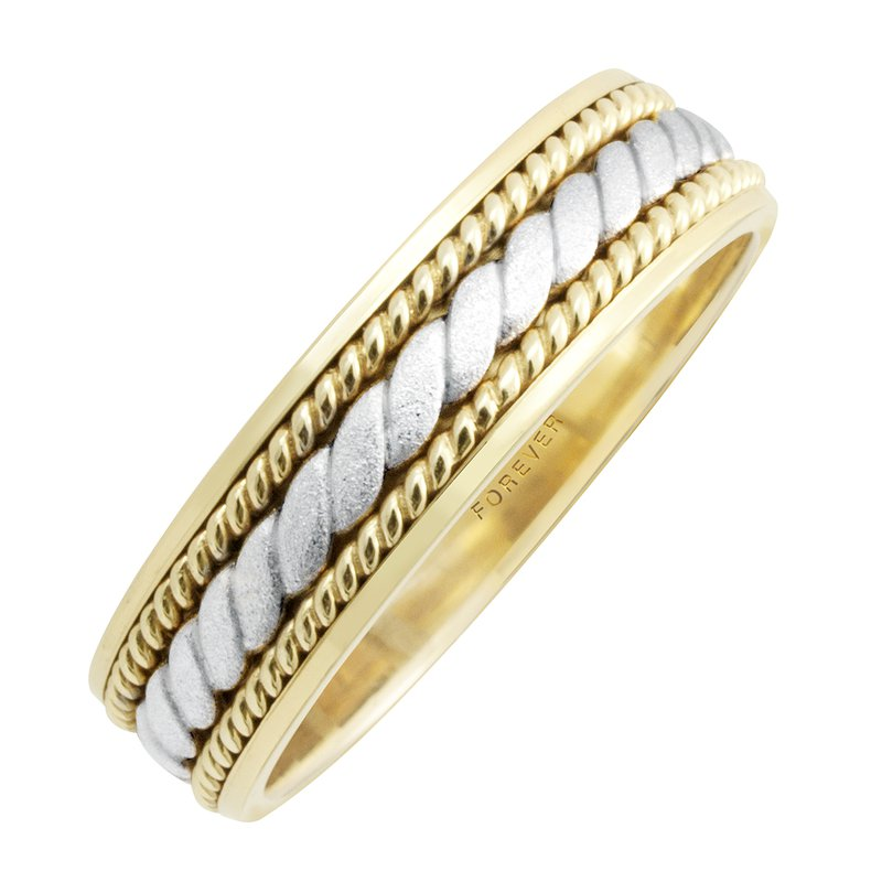 Cadmans TWO-TONE ROPE CENTRE LADIES WEDDING BAND