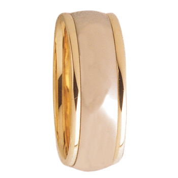 8mm D8T01 Mens Two-Tone Comfort Curve Wedding Band