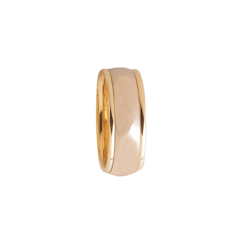 Cadman Catalog 8mm D8T01 Mens Two-Tone Comfort Curve Wedding Band