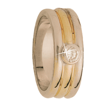 8mm 5T06D Mens Two Tone Wedding Band