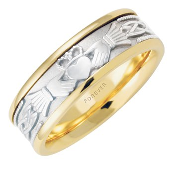 7.5mm 5522 Mens Claddagh Wedding Band